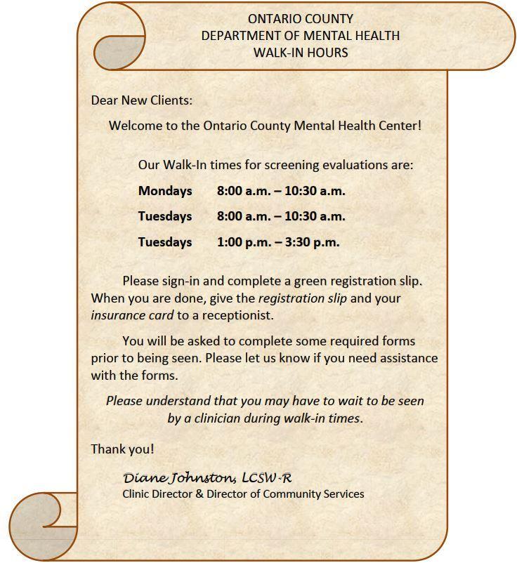 Mental Health Ontario County Ny Official Website