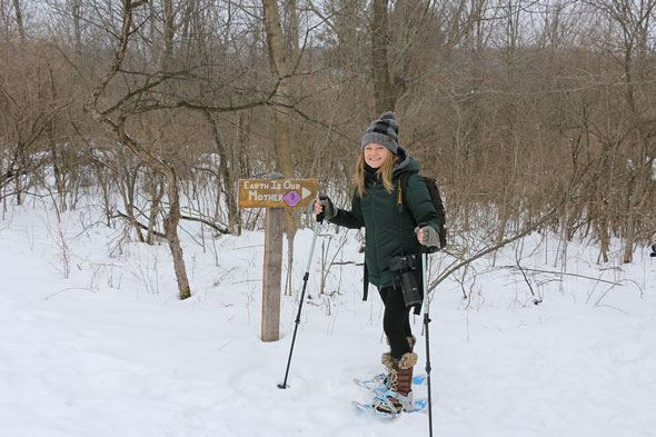 Winter Snowshoeing in Ontario County along a trail