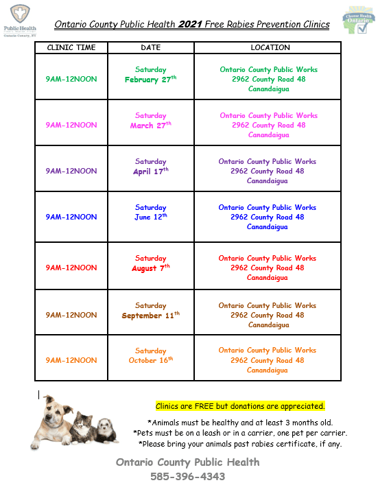 March 3 Rabies UPdated schedule