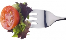Vegetables on fork